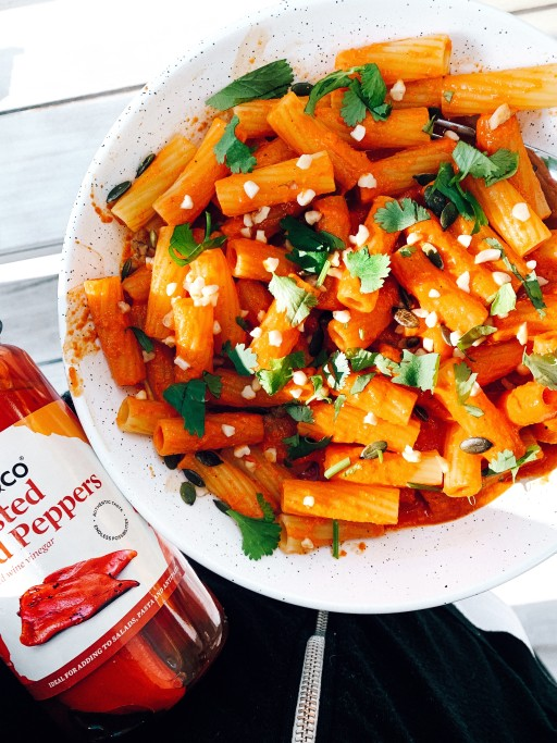 Roasted Red Pepper Rigatoni Pasta